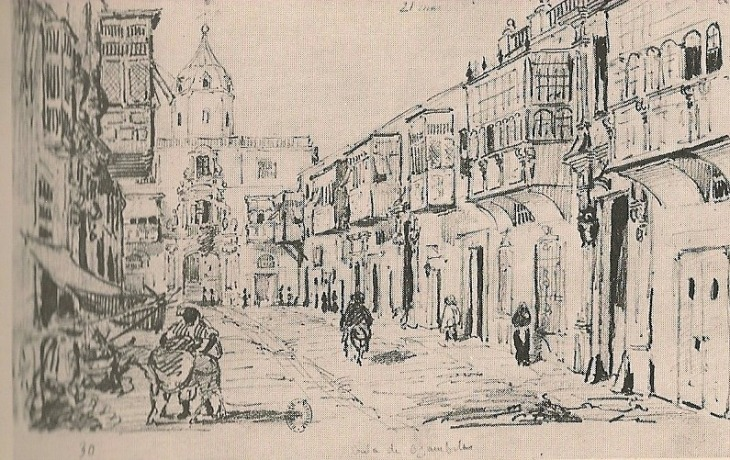 Lima. Calle de Afligidos, boceto de L. Angrand, 1838