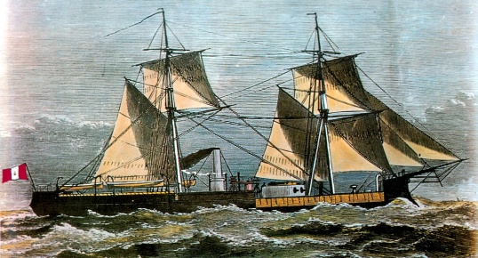 Monitor Huáscar, grabado que apareció en la obra Twenty famous naval battles