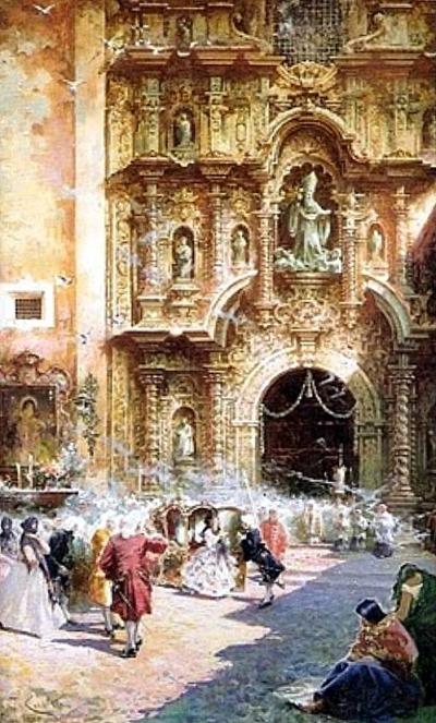 Misa de la virreina (Detalle de la Iglesia de la Merced)Teófilo Castillo, 1920