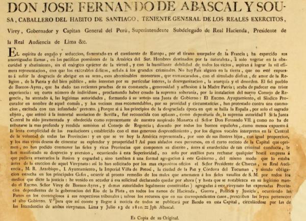 Abascal, dispone que Charcas y Córdova deTucumán pasen al vireynato del Perú